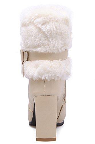 YE Damen Blockabsatz Spitze High Heels Plateau Stiefeletten mit Fell warm Gefüttert Schnallen Reißverschluss 8cm Absatz Winterstiefel Beige