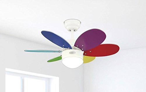 31zf9hyKleL - Westinghouse Ceiling Fans 78673 Turbo II One-Light 76 cm Six-Blade Indoor Ceiling Fan, White Finish with Opal Frosted…