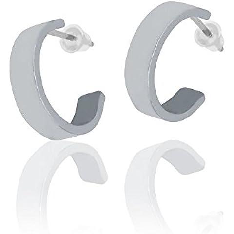 Soul-cats® acciaio inox Orecchini a cerchio orecchini argento lucido semplicemente aperto