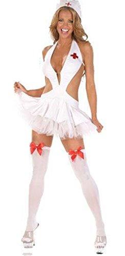 Boowhol Reizwäsche Damen Frauen Spitze Push up Babydoll Sexy Hot Ouvert Dessous-Sets Lingerie mit G-String Rollenspielen Krankenschwester Cosplay Costume-Ohne Socken