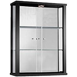 K-Möbel Vitrine Murale 80x60x25 cm Collection Miniature Noir avec 2 étagères en Verre avec Miroir et LED