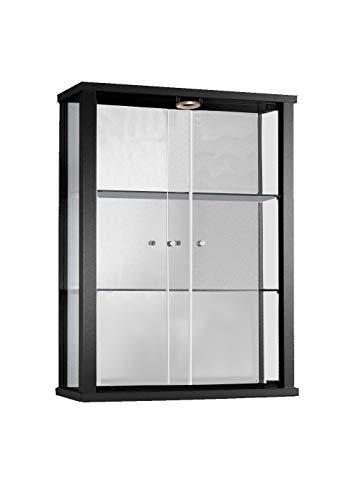 K-Möbel Glashängevitrine Glasvitrine Spiegel Beleuchtung Hängevitrine mit LED Schwarz