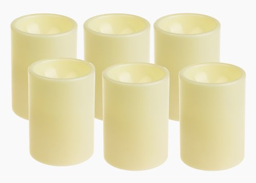 GiveU 3X4 Inches Flameless Plastic Pillar Led Candle Light With Timer For Indoor and Outdoor,Battery Operated Mood Lighting,Lvory,Pack of 6