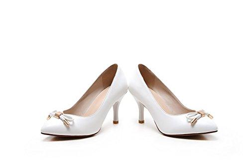 AllhqFashion Damen Ziehen Auf Spitz Zehe Hoher Absatz Mikrofaser Rein Pumps Schuhe Weiß