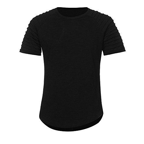 VEMOW Heißer Sommer Männer Sport T-Shirt Slim Fit O-Ausschnitt Kurzarm Muscle Cotton Casual Täglichen Training Tops Bluse Shirts(Schwarz, EU-46/CN-M)