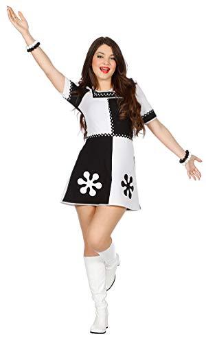 Karneval-Klamotten Retro Kostüm Damen schwarz weiß 50er 60er Jahre Damen-Kostüm Größe 42 (50er Jahre Motto-kostüme)