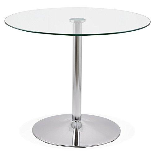M.K.F. Table de Repas Ronde Design Olav en Verre et métal chromé (Ø 90 cm) (Transparent)