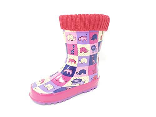 Girls Animal Print Wellies/Rain Boots Pink