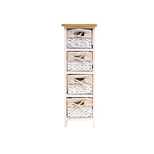 FRANDIS 199317Venezia Schubladen-Turm Holz weiß lackiert mit Holztablett natur + 4Körbe Schilfrohr weiß 26,5x 26,5x 76cm
