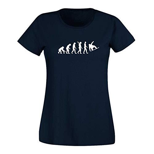 T-Shirt Evolution Snowboard Wintersport Skiurlaub Schnee 15 Farben Damen XS-3XL extrem Halfpipe Freestyle Abfahrt Hütten Gaudi Apres-Ski, Größe:M, Farbe:Navy - Logo Weiss -