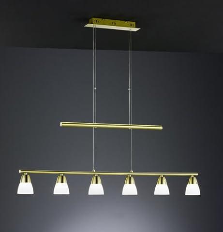 Trio Leuchten LED-JoJo-Pendelleuchte in Messing matt, inklusiv 6x5W LED 3000K 400 Lumen , Breite: 115 cm, Höhe: 120-150 cm, glas weiß 321510608
