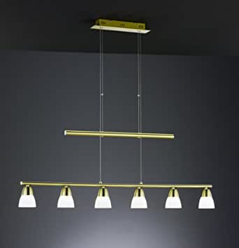 trio leuchten led jojo pendelleuchte in messing matt inklusiv 6x5w led 3000k 400 lumen breite. Black Bedroom Furniture Sets. Home Design Ideas