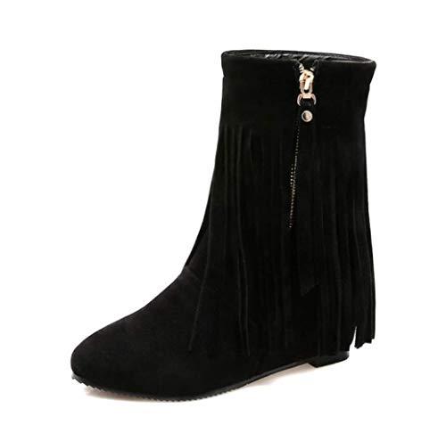 82d68cd6c SHANGWU Cuñas de Mujer Botas de Flecos con Flecos Tacón Alto Oculto 8 cm  Zapatillas