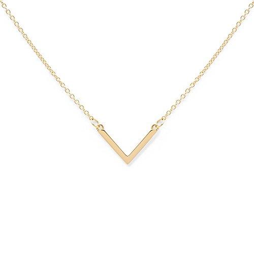 prettique Halskette Triangle mit Anhänger in V-Form aus 925 Sterlingsilber (18 Karat vergoldet)