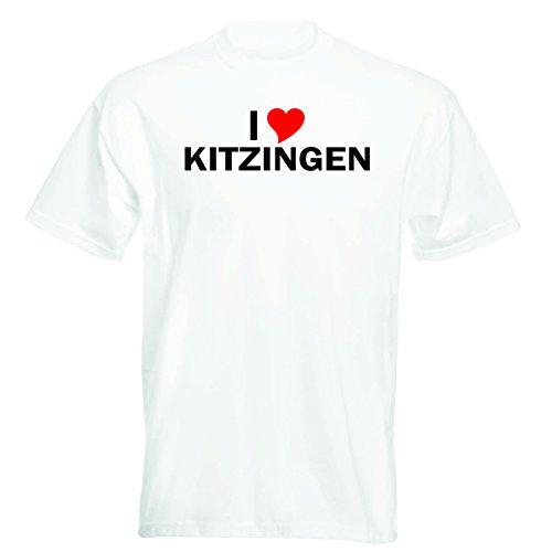 T-Shirt mit Städtenamen - i Love Kitzingen - Herren - unisex Weiß