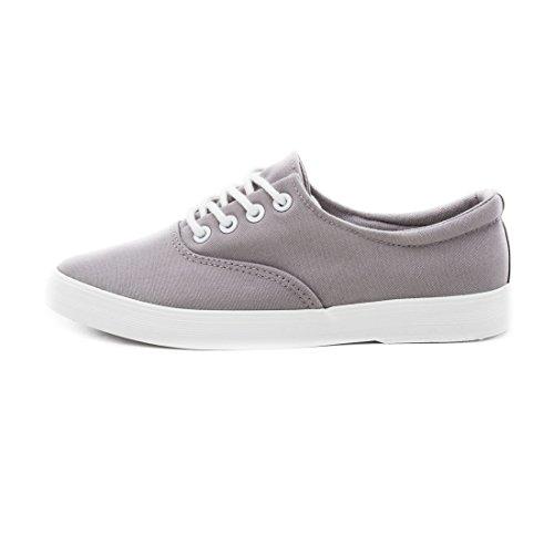 Trendige Low Top Damen Schnür Sneaker Schuhe in Textil Modell 2: Grau