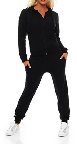 Gennadi Hoppe Damen Jogginganzug Trainingsanzug Sportanzug, schwarz,XXL (Damen Trainingsanzug Schwarz)
