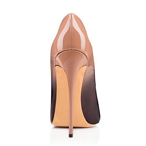 Damenschuhe Peep Toe Pumps Lackleder High Heels Stiletto Glitzer Rutsch Beige