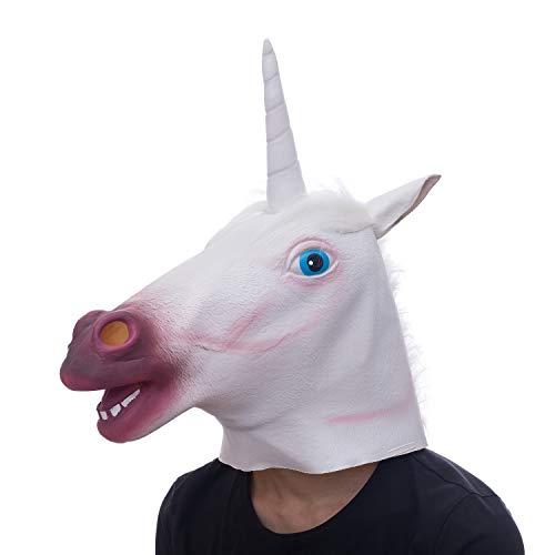 Einhorn Tier Maske Kopf, gruselige Pferd Maske, Neuheit Deluxe Kostüm Latex Maske für Kostüm Party Halloween (weiß)