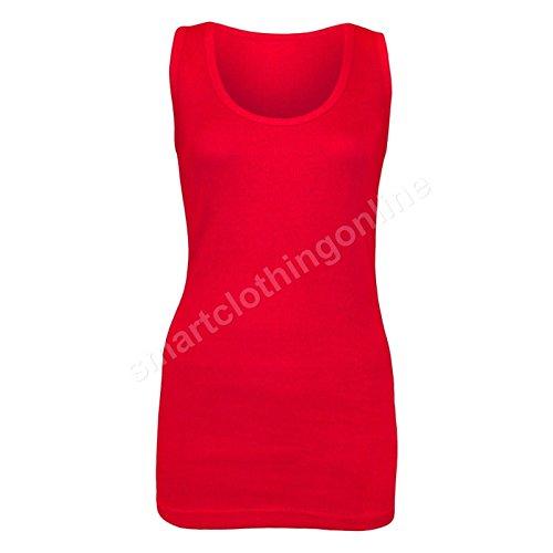 neuf femmes côtelé Sans manche Coton Extensible Grande Taille Débardeur Rouge