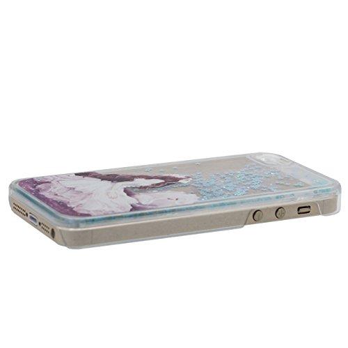 iPhone SE Coque, Joli Fille Flowable Liquide Eau & Étoiles Transparent Dur PC Plastique Rigide Housse de protection Case pour Apple iPhone 5 5S SE cyan