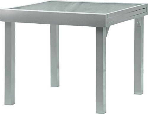 IB-Style - DIPLOMAT Gartentisch-XL | Aluminium SILBERMATT | Premium Ausziehtisch 90 - 180 cm Gartentisch