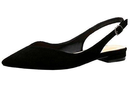 BIGTREE Slingback Sandalen von Damen Wildleder Schnalle Spitze Zehen Flach Schuhe Schwarz 40 EU