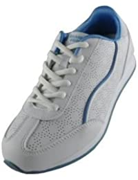Drakes Pride señoras blancas azul trim cósmico tazones entrenador zapatos, color blanco, tamaño 8
