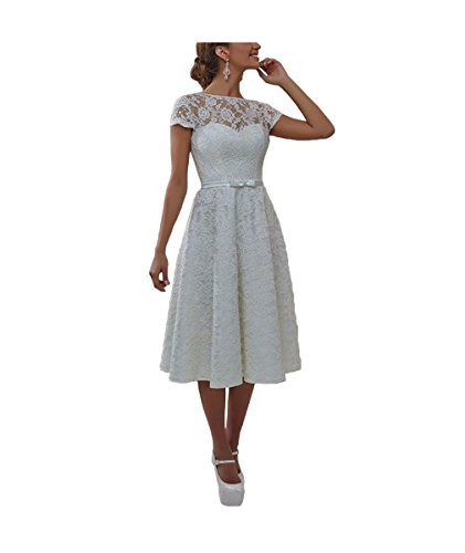 DreamyDesign Elegant Spitze Herzform Hochzeitskleid Brautkleid mit Schnürung Hinten Teelänge...