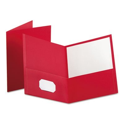 Twin-Pocket Portfolio, Embossed Leather Grain Paper, Red, 25/Box by Oxford