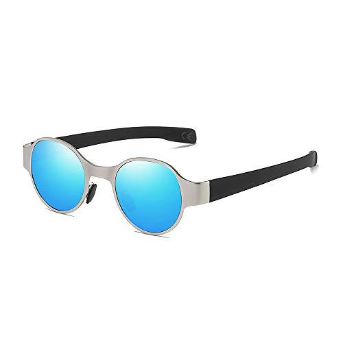 AMZTM Steampunk Sonnenbrille für Herren, Polarisierte Metall Punk Brille, Jahrgang Retro Mode Klein Runden Sonnenbrille, UV Schutz HD Vision (Silberne Rahmen Blau Spiegel Linse)