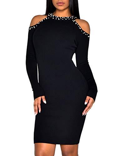 Terryfy Damen Knielang Kleid Elegant Figurbetont Cold Shoulder Langarm Kurz Dress mit Perlen Schwarz