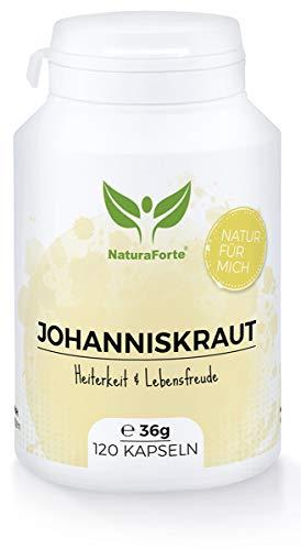 NaturaForte Johanniskraut-Kapseln 120 Stück, Johanniskraut-Extrakt Hochdosiert 600 mg mit 18 mg...
