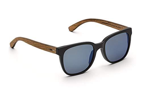 TAKE A SHOT - Eckige Holz-Sonnenbrille Herren, Holz-Bügel, Kunststoff-Rahmen, UV400 Schutz, rückentspiegelte Gläser