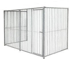 3 sided Doghealth Kennel Run Galvanised - 5cm gap 1.5m x 2m (with door)
