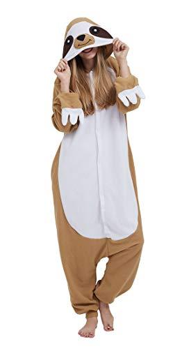 Pyjama Cosplay Tier Onesie Body Nachtwäsche Kleid Overall Animal Sleepwear Erwachsene Sloth M ()