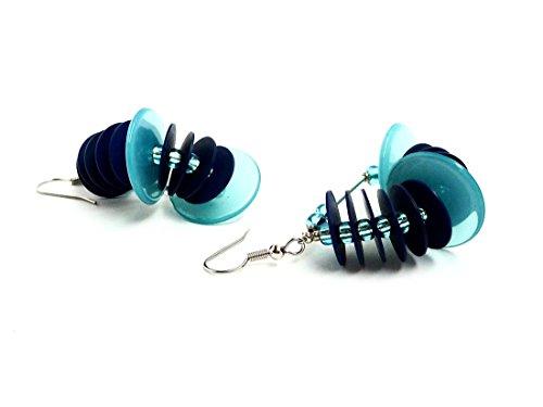 Ohrringe Fächer Aquablau Bakelit Navy Blue