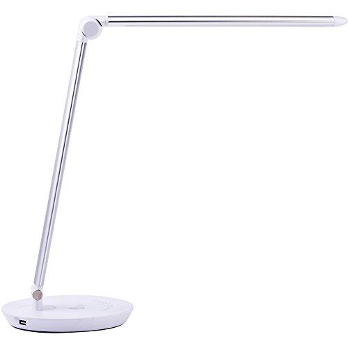 Uping Schreibtischlampe led Tischleuchte Tischlampe nachttischlampe Aluminiumlegierung dimmbar faltbar 1,5M Netzteil-Kabel ber¨¹hrungsempfindlich Augenschutz Memoryfunktion mit USB Anschluss Energiespar 10W silber