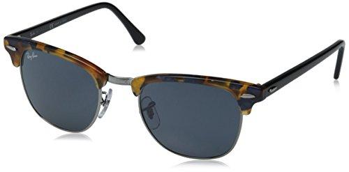 Ray-Ban Unisex Sonnenbrille Clubmaster, Mehrfarbig (Gestell: blau/schwarz(Havana,Tortoise) Glas: grau 1158R5), Small (Herstellergröße: 49)