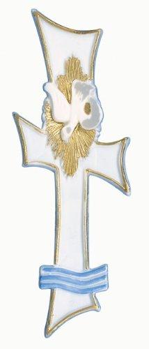 Rayher 3109000 Wachsmotiv für Taufkerze, 17 cm, SB-Beutel 1 Stück, weiß / gold / hellblau