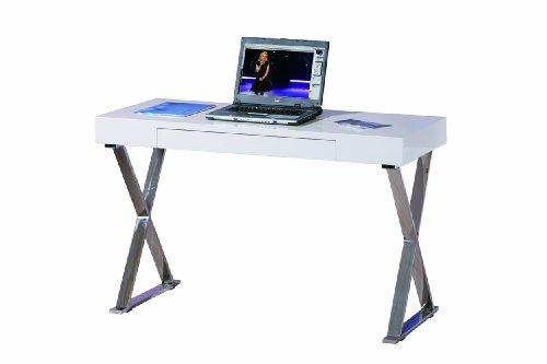 Inter Link Schreibtisch Bürotisch Computertisch Arbeitstisch Laptoptisch MDF Weiss Hochglanz