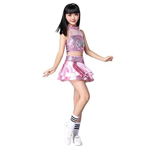 Jazz Kostüm Latin - HUO FEI NIAO Kinder Pailletten Kostüm Jazz Dance Latin Dance Hip Hop Kostüm Requisiten (Color : Pink, Size : 110)