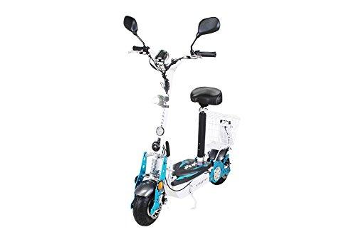 E-Scooter Roller Original E-Flux 40 mit Straßenzulassung und 800 Watt 36 V Motor 40 km/h Geschwindigkeit eingetragen Elektroroller E-Roller E-Scooter in vielen Farbe (weiß)