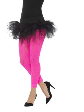 Neon Pink Lace Leggings for 80s Fancy Dress
