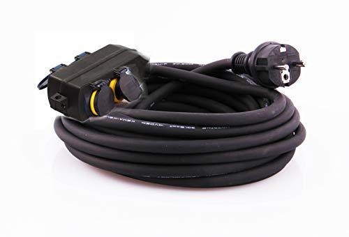 JL Gartensteckdose, Außensteckdose mit Kinderschutz, Schutzklasse IP44, wasserfestes Gehäuse - H07RN-F 3G1,5 Kabel, Sicherheitsgeprüft mit GS Siegel (4-fach 10m)