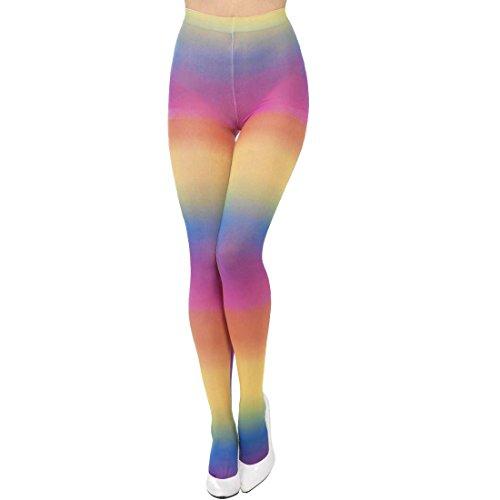 NET TOYS Medias Opacas Pantys arcoíris Leotardo Rainbow Calcetines Altos ochenteros Leggings Payaso Pantalones Disfraz Carnaval