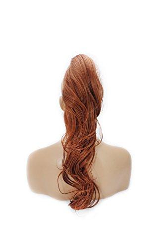 Elegant Hair – 56 cm / 22 Zoll - Kupfer #350 - Glatt mit Locken Pferdeschwanz – Einklippbare Haarverlängerung – Verdrehbarer Klauenclip - 30 Farben - 250g