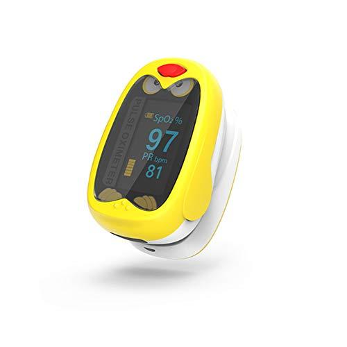 Pulsoximeter SpO2 Wiederaufladbar und Messung der Sauerstoffsättigung mit dem niedlichen OLED-Pulsoximeter im Cartoon-Design für Babys und Kinder im Alter von 1 bis 12 Jahren,Yellow