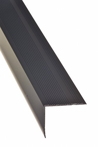 Aluminium Treppenwinkel-Profil - 100cm, 32x30mm, bronze-dunkel ✓ Rutschhemmend ✓ Robust ✓ Leichte Montage   Treppenkanten-Profil, Treppenstufen-Profil aus Alu   Selbstklebendes Stufenkanten-Profil, Treppenprofil   Treppenkantenschutz für Laminat, Teppich…