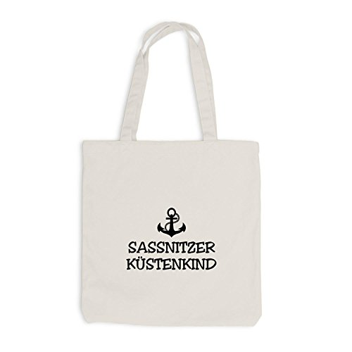 Jutebeutel - Sassnitzer Küstenkind - Anker Sassnitz Schiffsanker Küste Maritim Beige